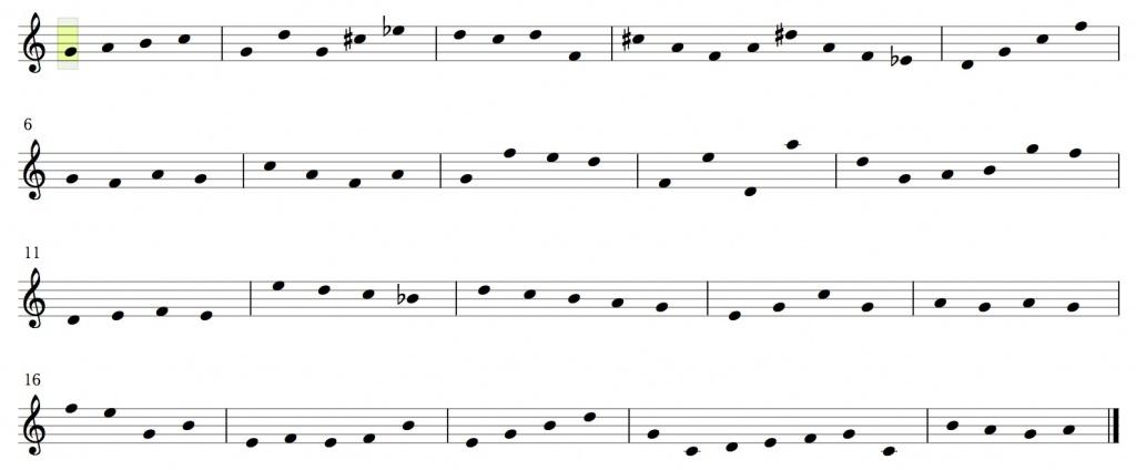 Melodic motif chart